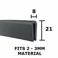 7 x 4mm Rubber U Channel For 1mm Panels Sold Per Metre