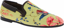 Dolce&Gabbana Men's fashion loafers shoes in beige canvas with floral pattern