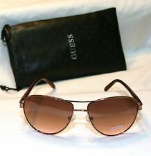 Authentic GUESS GU7208-ROGLD-62 Women's Aviator Sunglasses ROSE GOLD TONE NEW!