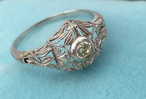 ring anello solitario ANTICO vintage anni 20  oro 12kt DIAMANTE naturale +BOX