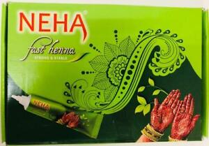 10 X Neha Herbal Fast Henna Mehandi Cones Natural Herbal Strong Dark RED Tubes