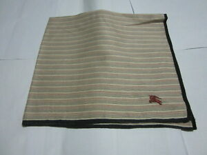 """USED IVORY STRIPED PATTERN COTTON 18"""" POCKET SQUARE HANDKERCHIEF HANKY FOR MEN"""