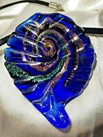 Vintage Murano Glass Hand Blown Pendant Necklace Mardi Gras Colors Conch Shell