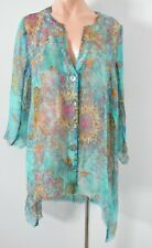 Von Troska Shirt Blouse Size 12 Blue Pink Silk Kaftan Top New