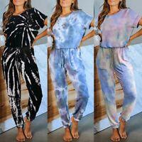 Women Tie Dye Short Sleeve Long Jumpsuit Loungewear Ladies Casual Loose Playsuit