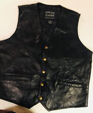 Navarre Mens Black Patchwork Italian Stone Leather Biker Vest - Size Large*