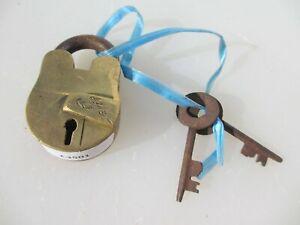 Small Brass Padlock Lock Keys Old