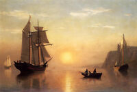 Oil painting seascape sail boats and canoes on the ocean in sunset landscape