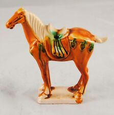 "Chinese Tang Sancai Armed War Horse Majolica Drip Glazed 5.5"" Tall Orange Green"