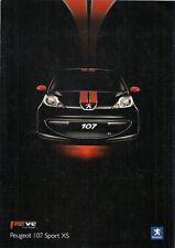 Peugeot 107 Sport XS 3-dr Limited Edition 2007 UK Market Sales Brochure