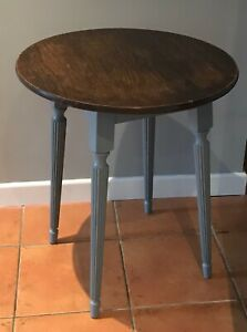 60cm Round Hardwood Grey Side Table Cafe table Pub table upcycled