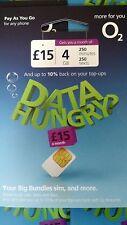 O2 Sim Card Pay As You Go Nano Micro Triple Cut 4G GSM 02 for iPhone & Galaxy UK