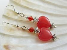Rojo Jade Heart & Cristal pendientes en plata esterlina 925 Ganchos, regalo de San Valentín