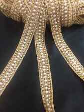 1Yard Gold Pearl Beaded Daimonte Bridal Wedding  Applique Trim Edging Costume