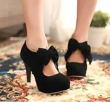 Ladies Sweet Lolita Shoes Faux Suede Stilettos Bowknot Party Pumps SZ UK1.5-10.5