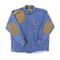 "North River Outfitters Men Medium 46"" Long Sleeve Button Denim Shooting Shirt"