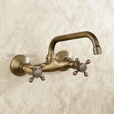 Antique Wall Mounted Dual Cross Handle Swivel Spout Kitchen Sink Basin Mixer Tap