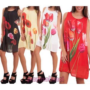 Vestito donna miniabito abito corto velato fiori  maxi maglia nuovo CJ-2213