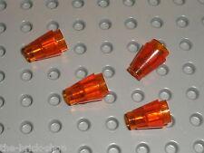 4 x TrDkOrange Cones ref 4589 LEGO /Set 4743 6209 7666 5378 7249 6211 7697 10193