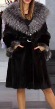 NEW BLACK MINK FUR SILVER FOX COLLAR HOOD LONG COAT JACKET