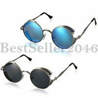 Vintage Steampunk Polarized Sunglasses Fashion Round Mirrored Goggles Eyewear