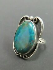 Vintage Mexican Turquoise Silver Ring Size 7.25