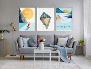Scandinavian Wall Art Sailing Boat and Abstract Island Prints Handmade Set of 3