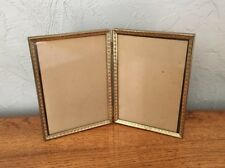 Vintage Bifold Decorative Metal Picture Frame For 5x7 Photos W/ Glass