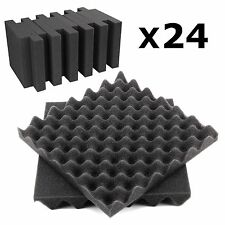 24Pc Acoustic foam sound treatment tile pack convoluted egg profile studio/music