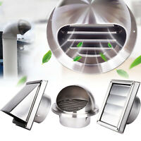 Stainless Steel Wall Air Vent Ducting Ventilation Exhaust Grille Cover Outlet