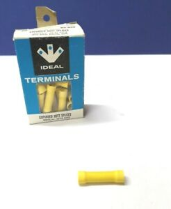 100-PK IDEAL Insulated Butt Splices 12-10 AWG YELLOW Wire CONNECTORS 83-930 NEW