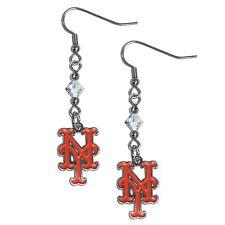 NY New York Mets MLB Crystal Dangle Earrings, Baseball Jewelry