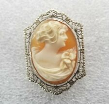 Antique Cameo Pendant / Brooch in 14K White Gold