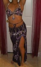 Handmade Egyptian 2 Piece Belly Dance Costume Eggplant Purple & Silver