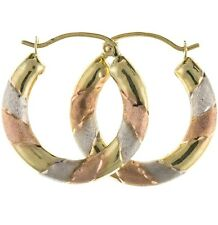 New 9 carat Tri Yellow Gold Creole Hoop Earrings Jewellery Gift Boxed Gift Boxed