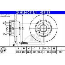 ATE 2x Bremsscheiben belüftet 24.0124-0113.1