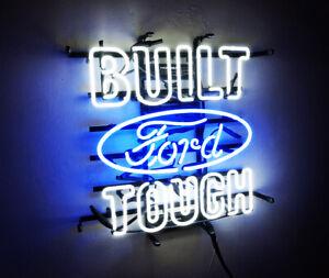 """BUILT TOUGH"" FORD Neon Sign Sport Racing Club Pub Light Auto Shop VIntage Beer"