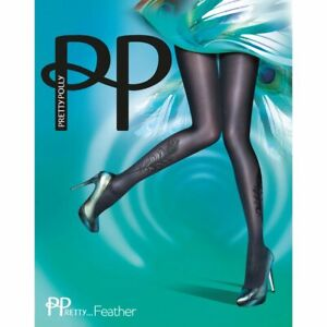 Pretty Polly ~ FEATHER ~ black tights BNWT one size flocked peacock feather