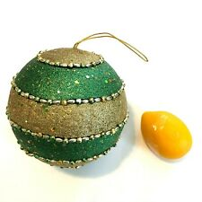 "XLarge Hanging Christmas Decoration  6"" Green & Glitter Gold Ball Sequins Beads"