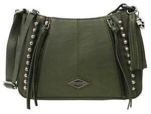 Harley-Davidson Womens Ball & Chain Leather Saddle Crossbody Purse - Olive Green