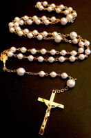 Vintage Pearl Beaded Rosary Gold Tone Crucifix &  IHS Chalice Center
