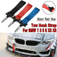 Nylon Track Racing Style Tow Hook Strap Fit For BMW 1 3 5 6 X5 X6 Red Blue