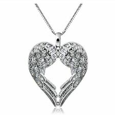 Classic 925 Silver Angel Wing Heart Pendant Necklace Chain Women Wedding Jewelry
