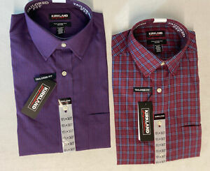 2 - KIRKLAND SIGNATURE Men's Dress Shirt 15.5 (36/37) Tailored RED/BLUE PLAID