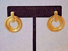 Gold Tone Dangle Pierced Earrings New Jordache Brushed And Shinny