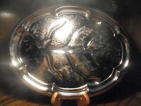 "Vintage Oval Ornate Silver-Tone Metal Serving Platter L=18"" W=13"" Ribbed Trim 64"