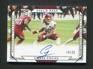 2020 National Treasures Chase Young Rookie Field Pass Auto Gold /25 Washington