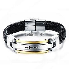 Black Leather Braided Stainless Steel CZ Cross Men's Heavy Bracelet Wristband