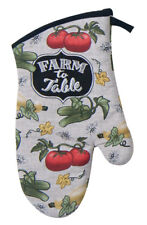 (1) Key Dee FARM to TABLE Cotton Oven Mitt Farm Produce Theme