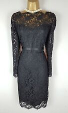 JAEGER Black Lace Pencil Wiggle Dress 14 Christmas Party